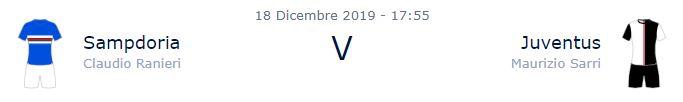 Sampdoria - Juventus 18 dicembre orario partita