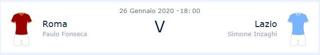 Roma – Lazio, informazioni partita del 26 gennaio 2020